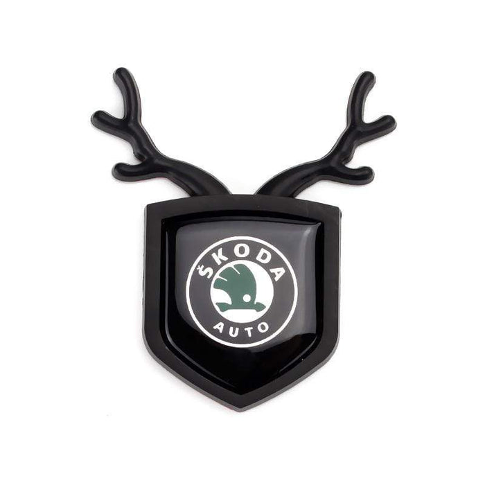 SKODA 2pcs Skoda Logo Shield Antler Emblems Emblems Stickers Black