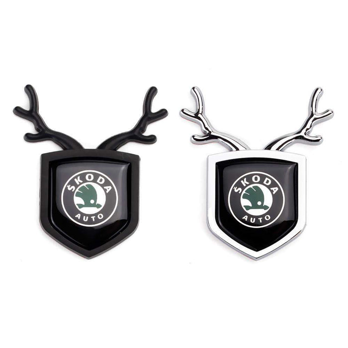 SKODA 2pcs Skoda Logo Shield Antler Emblems Emblems Stickers