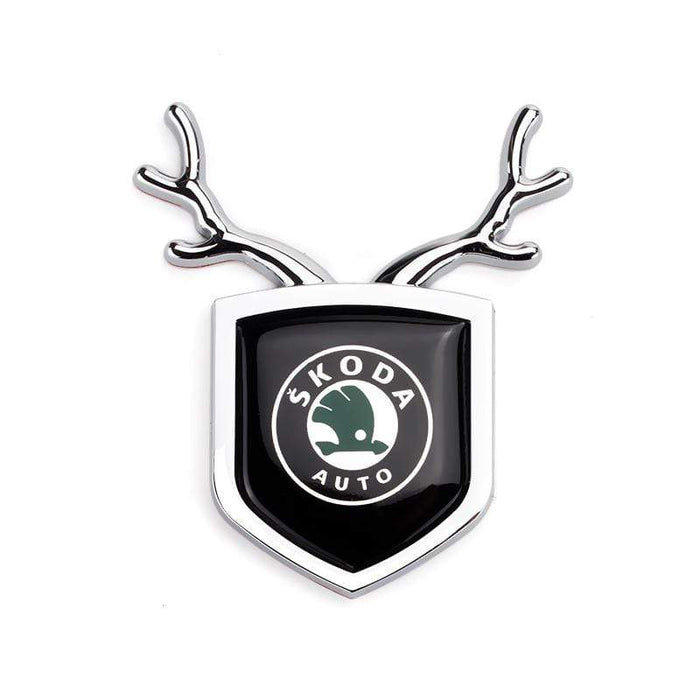 SKODA 2pcs Skoda Logo Shield Antler Emblems Emblems Stickers Silver