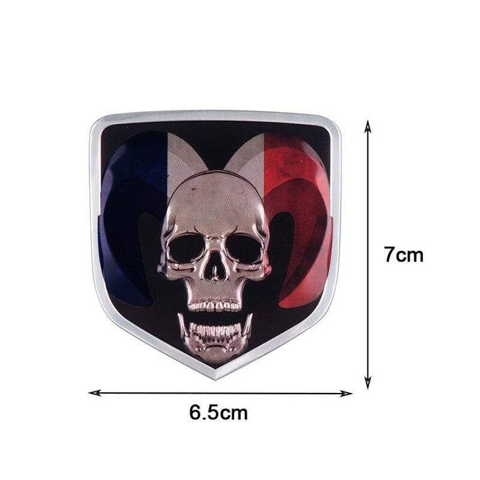 Skull National Flag Emblem Sticker For Dodge