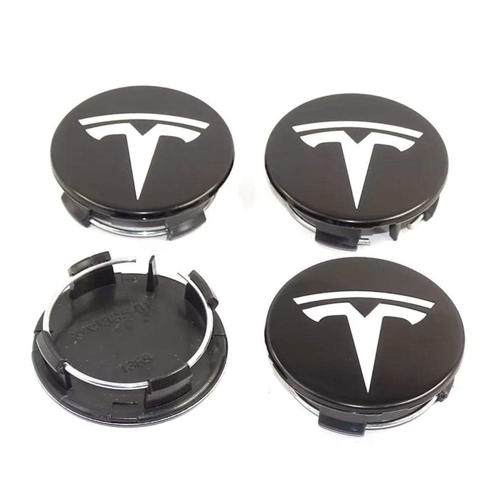 TESLA 4 Pcs Tesla White&Black Logo Wheel Center Caps 58mm Wheel Center Caps