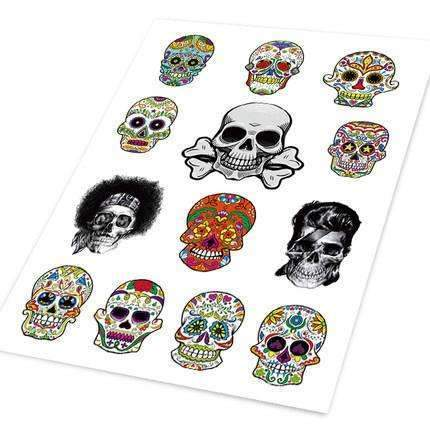 UNIVERSAL Multicolor Skull Decals Set Decals