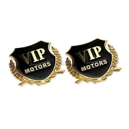 UNIVERSAL 2 Pcs Gold VIP Motors Emblem Stickers Emblems Stickers