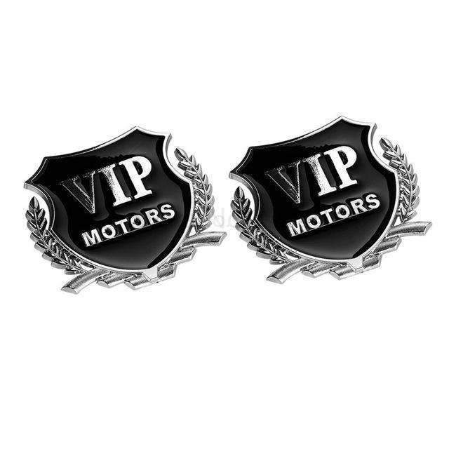 UNIVERSAL 2 Pcs Silver VIP Motors Emblem Stickers Emblems Stickers