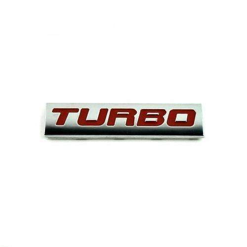 2pcs Turbo Black Emblem Stickers Red+Silver