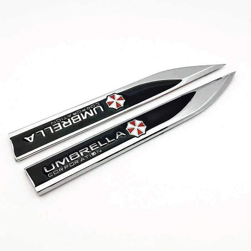 UNIVERSAL 2pcs UMBRELLA Resident Evil Sticker Emblem Emblems Stickers