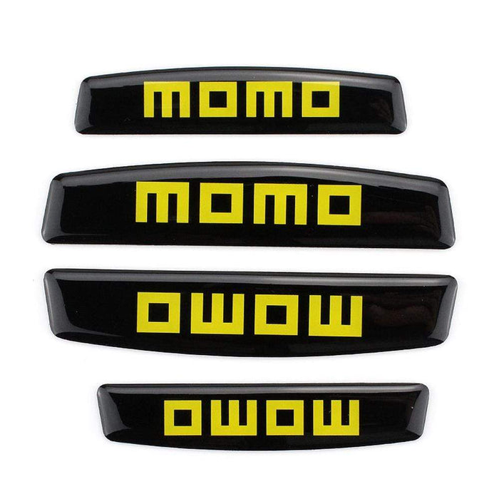 UNIVERSAL 4pcs Momo Nameplate Door Edge Protection Stickers Emblems Stickers