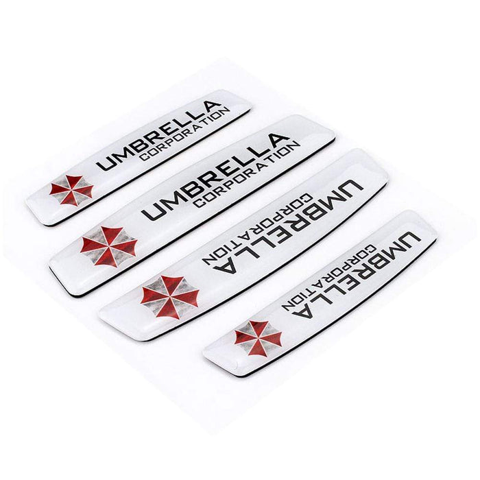 UNIVERSAL 4pcs Umbrella White Door Edge Protection Stickers Emblems Stickers