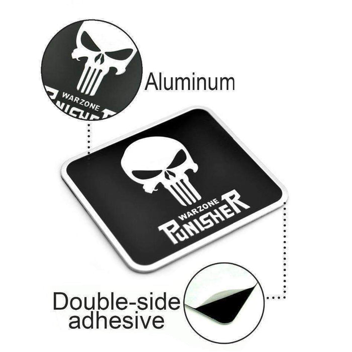 UNIVERSAL Aluminum Punisher Skull Emblem Emblems Stickers