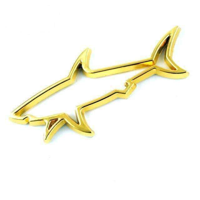 Hollow Shark Metal Emblem Sticker Gold