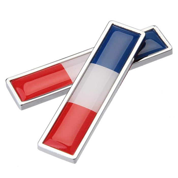UNIVERSAL 2pcs Flag Emblem Metal Stickers Emblem Stickers France
