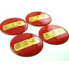 UNIVERSAL 4 Pcs Wheel Center Stickers BBS 56mm Black/Red Wheel Center Caps red-gold