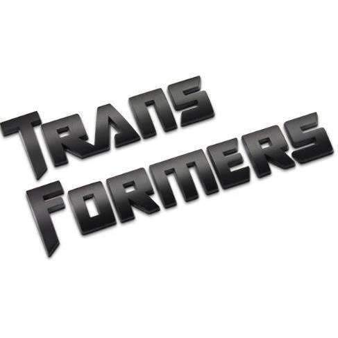 UNIVERSAL TRANSFORMERS Separate Letters Black/ Silver Emblem Sticker Emblems Stickers Transformers black