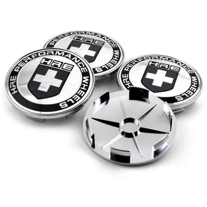 UNIVERSAL 4pcs 69mm HRE Performance Wheel Center Caps - Silver Wheel Center Caps