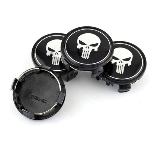 4pcs 65mm Punisher Wheel Center Caps - Black