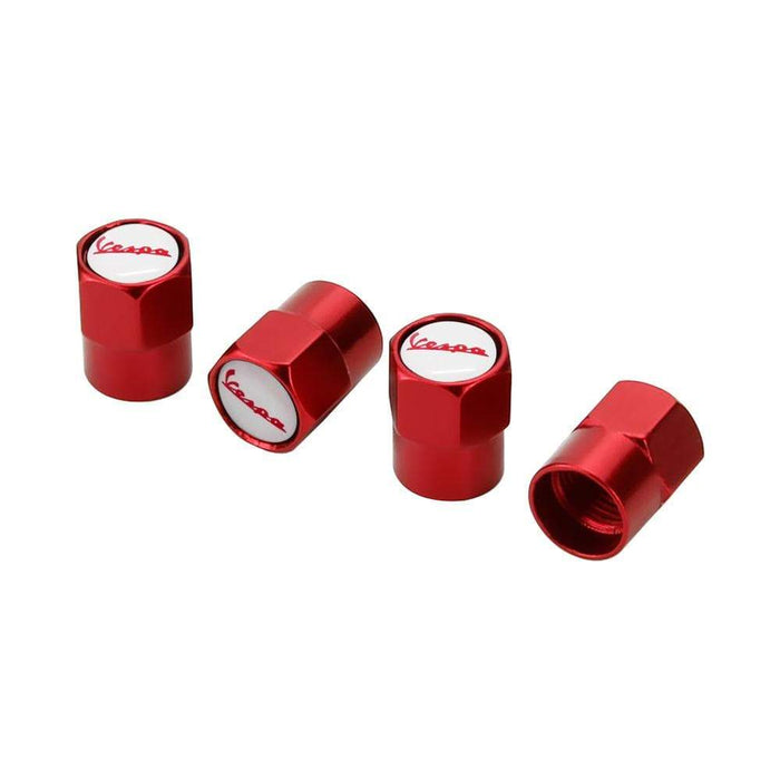 4pcs Vespa Red & White Logo Tire Valve Caps Red