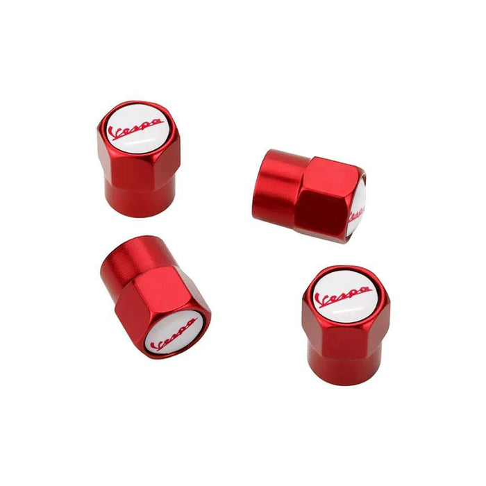 4pcs Vespa Red & White Logo Tire Valve Caps