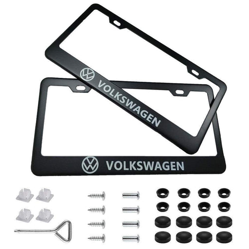 2pcs Volkswagen License Plate Frames with Screw Caps