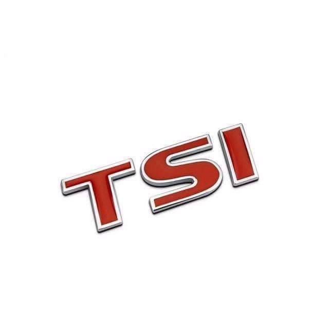 VOLKSWAGEN TSI Emblem for Volkswagen [Red, Metal, Sticker] Emblems Stickers Small