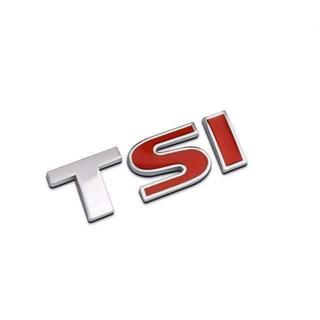 VOLKSWAGEN TSI Emblem for Volkswagen [Silver&Red, Metal, Sticker] Emblems Stickers Small