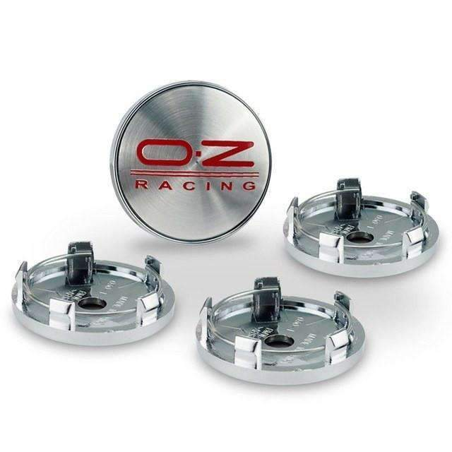 VOLKSWAGEN 4pcs OZ Racing 60mm Wheel Center Caps for Volkswagen - Silver&Red Wheel Center Caps