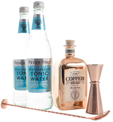 Copperhead The Alchemists London Dry Gin 40% vol 0.5l Jigger Box inkl. Fever Tree Mediterranean Tonic Water (2 Flaschen à 0.5l) - GinFriends