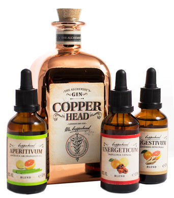 Copperhead The Alchemists London Dry Gin 40% vol 0.5l inkl. 3 Bitters Geschenk-Box - GinFriends