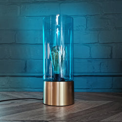 SERENA table lamp, blue glass, 25cm