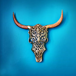 HARRY bison wall art, gold, 54cm