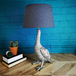 LUCY goose table lamp with grey shade, antique silver, 65cm