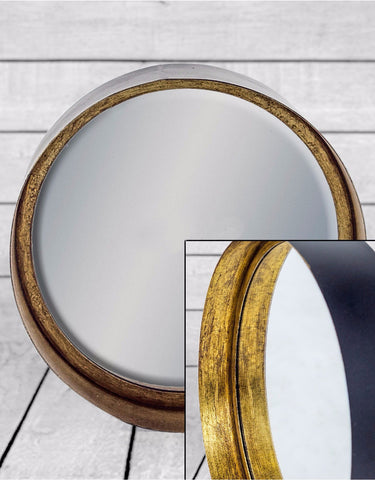 Arden Deep Frame Wall Mirror Black And Gold 26cm Ruba Home