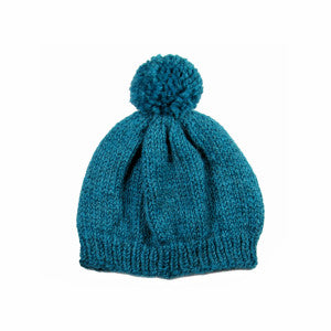 chunky knit pom pom hat carribbean