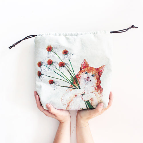 Kasper Kitty Cat Organic Cotton Project Bag