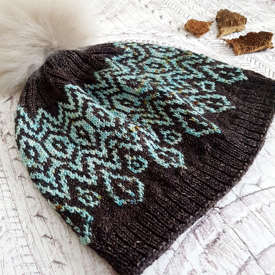 Morgan Hat - Teal & Chocolate (In Stock, Ready to Ship) - OOAK