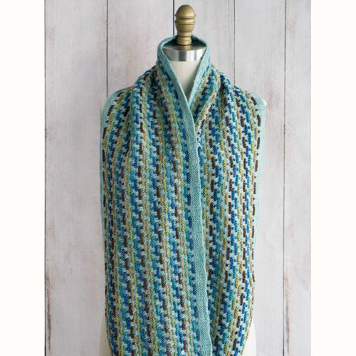 Free Knitting Pattern - Manos del Uruguay Trolley Tracks Infinity Scarf - Downloadable PDF