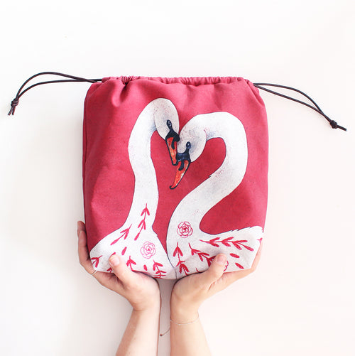 Rose & Lina Swan Organic Cotton Project Bag