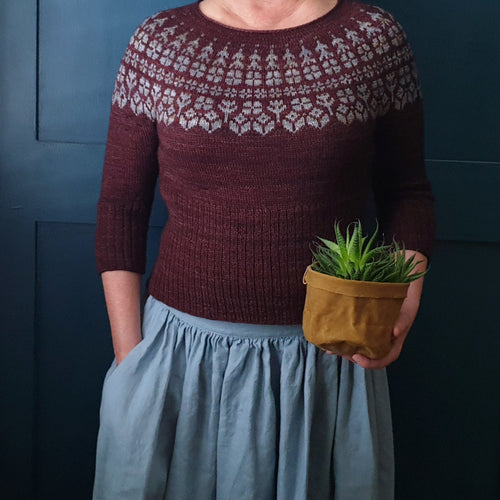 HFS Pattern + Yarn Kit - Alice in Bloom Pip Colourwork Sweater - Yorkstone & Coal