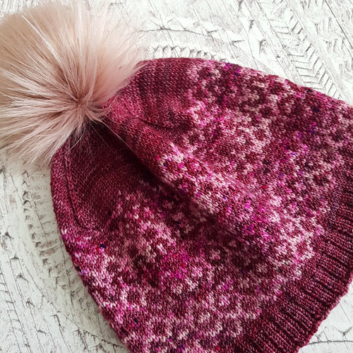 Hand Knit Reflections Slouchy Hat - All the Pinks (In Stock, Ready to Ship) - OOAK