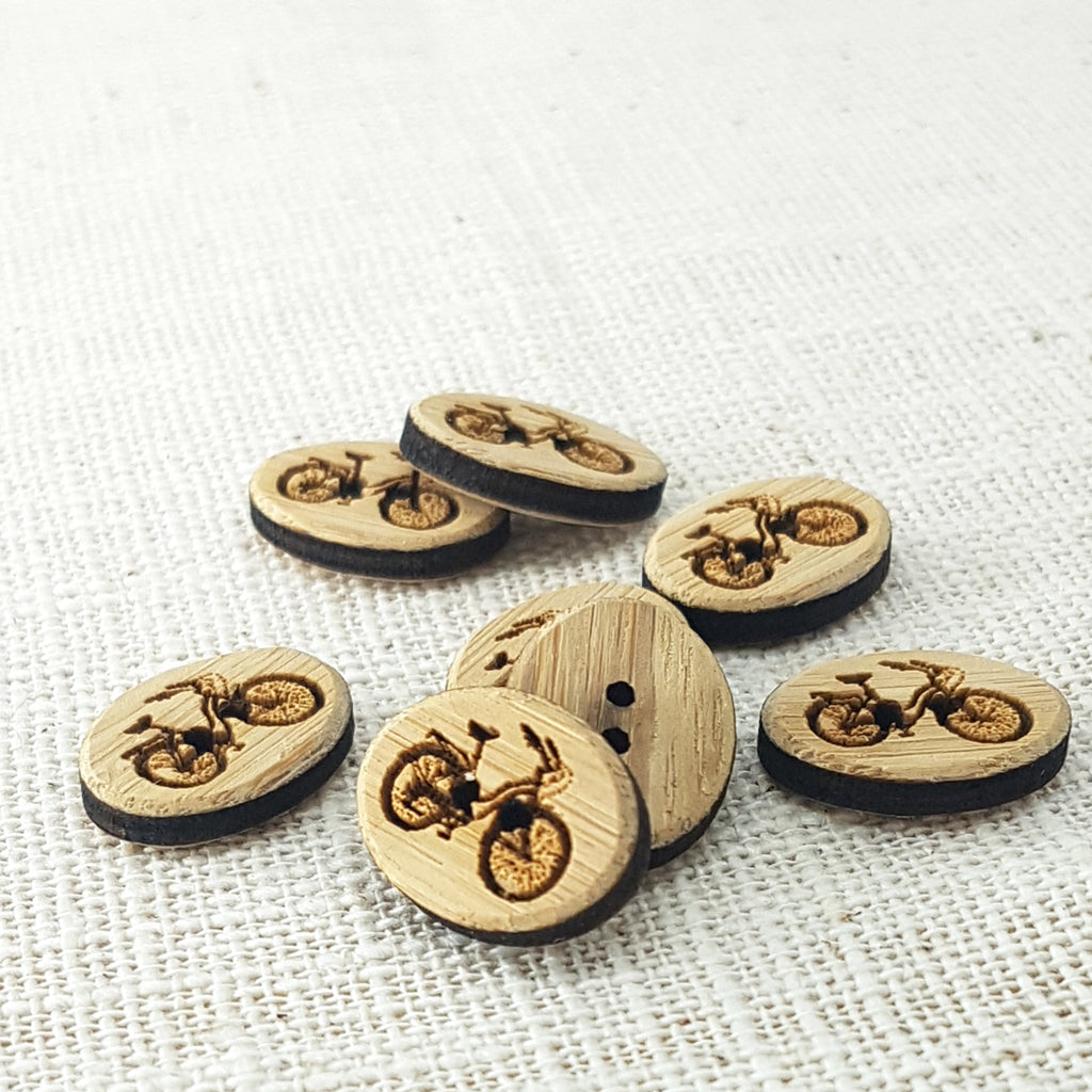 "Katrinkles Bicycle Bamboo Buttons - 1/2"" x 3/4"""