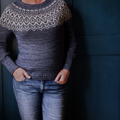HFS Pattern + Yarn Kit - Blythe's Spirit Pip Colourwork Sweater - Coal & Brass Band