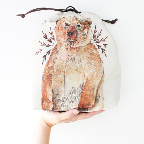 Bruno Brown Bear Organic Cotton Project Bag