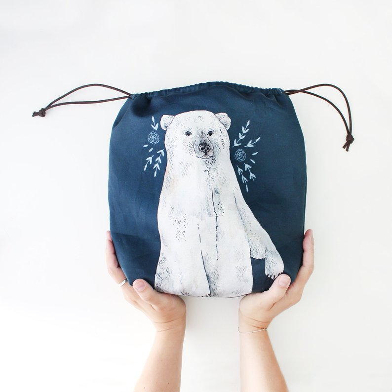 Boris Polar Bear Organic Cotton Project Bag