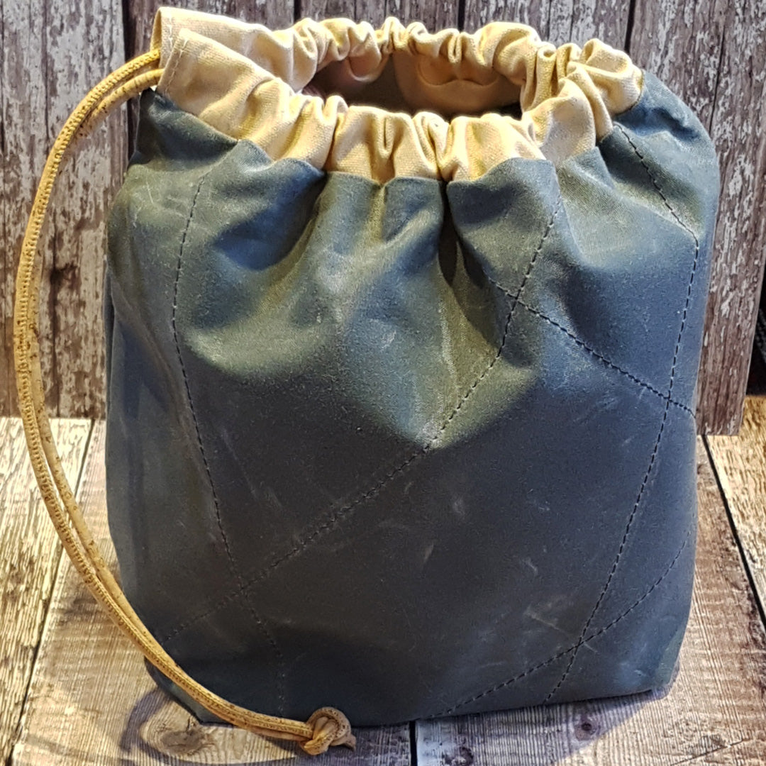 Charcoal Waxed Canvas Drawstring Project Bag