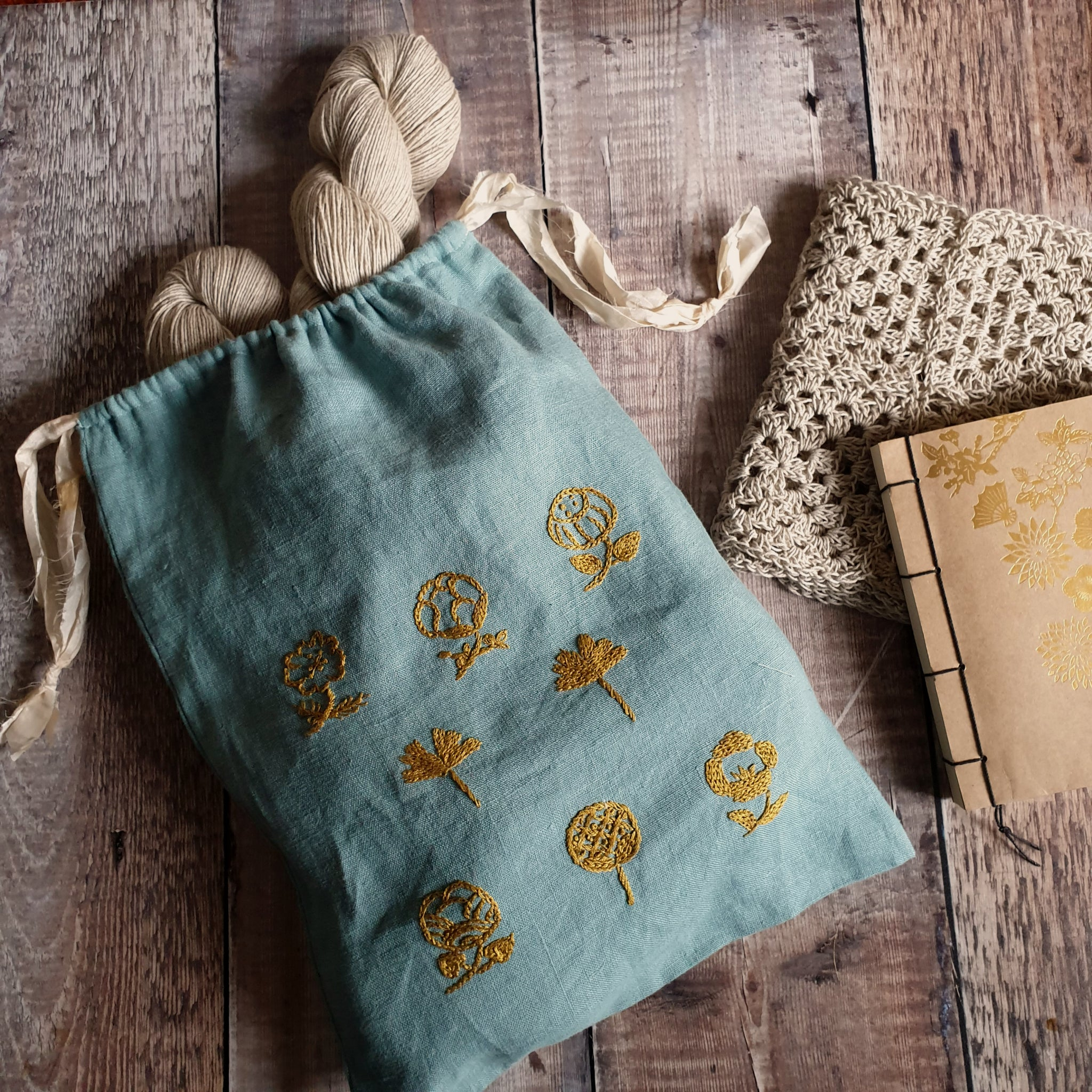 Hand Embroidered Linen Drawstring Bag - Gold Blooms (In Stock, Ready to Ship)