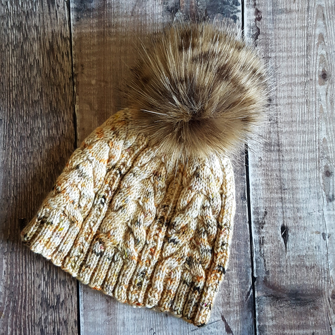 Hand Knit Cable Hat - Autumn Neutrals (In Stock, Ready to Ship) - OOAK
