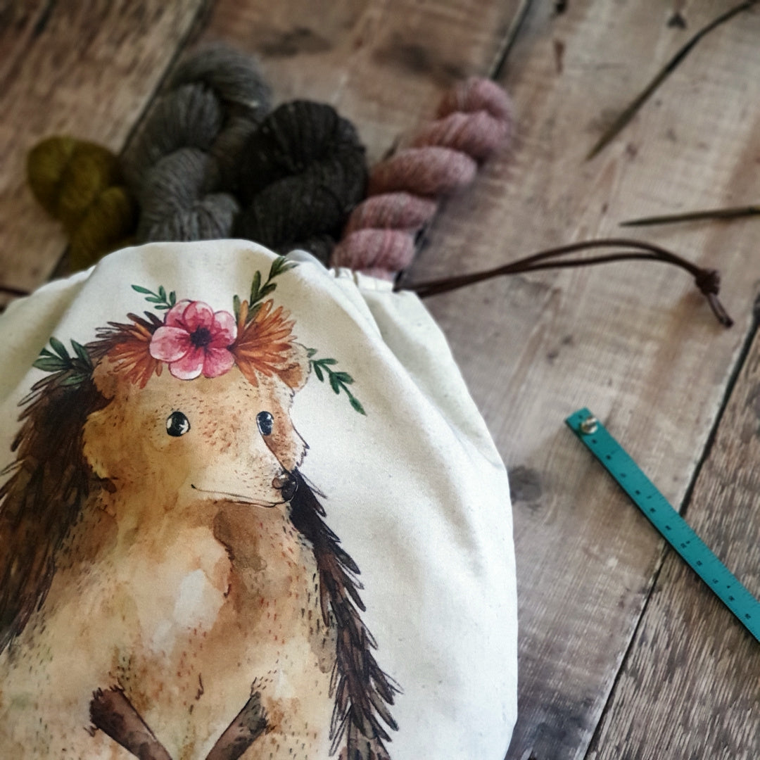 Nikki Hedgehog Organic Cotton Project Bag