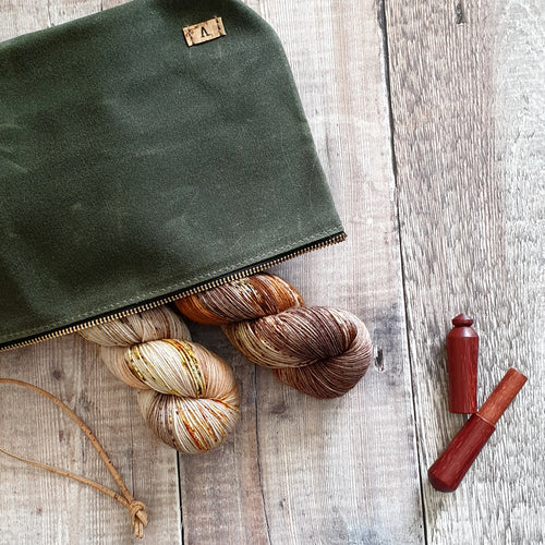 Olive Waxed Canvas Pouch with Cork Strap