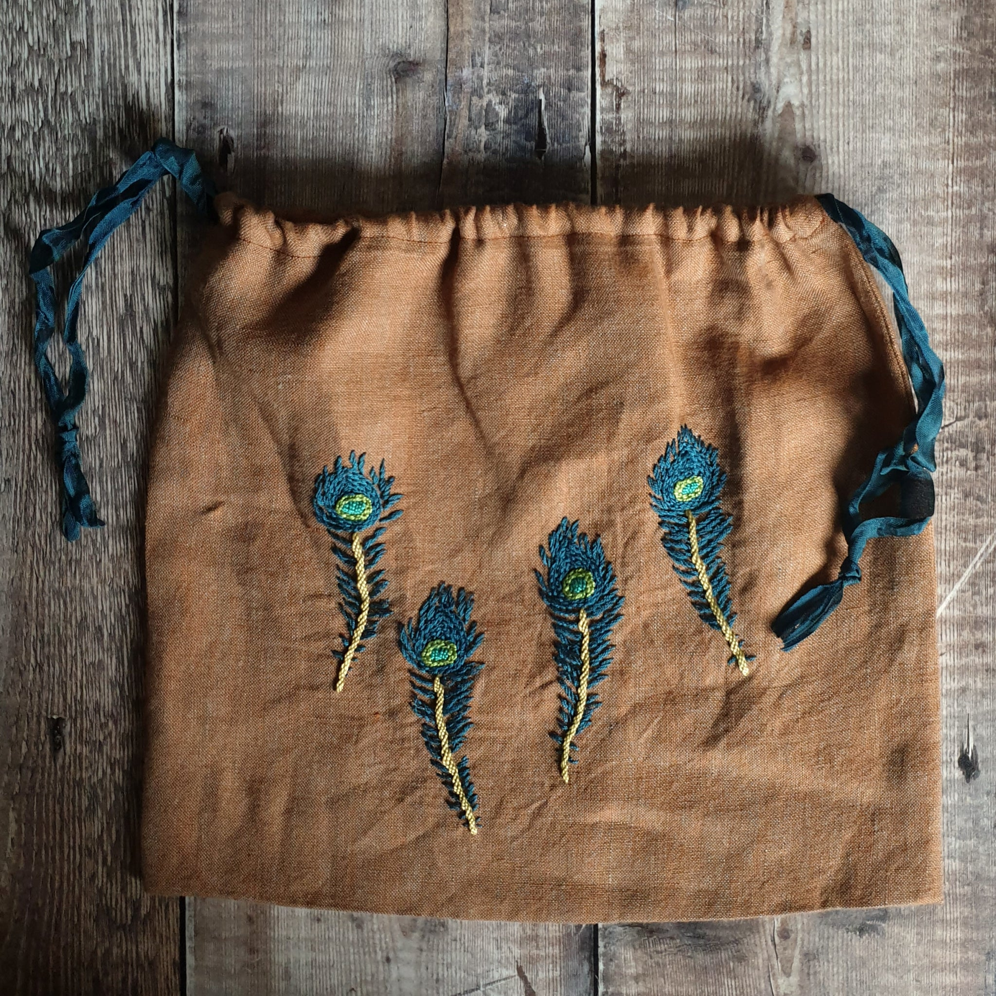 Hand Embroidered Linen Drawstring Bag - Peacock Feathers (In Stock, Ready to Ship)
