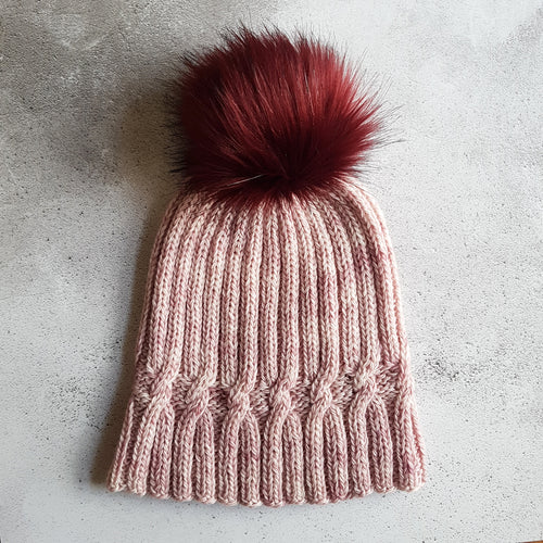 Hand Knit A Simple Twist of Fate Hat - Pinks (In Stock, Ready to Ship) - OOAK