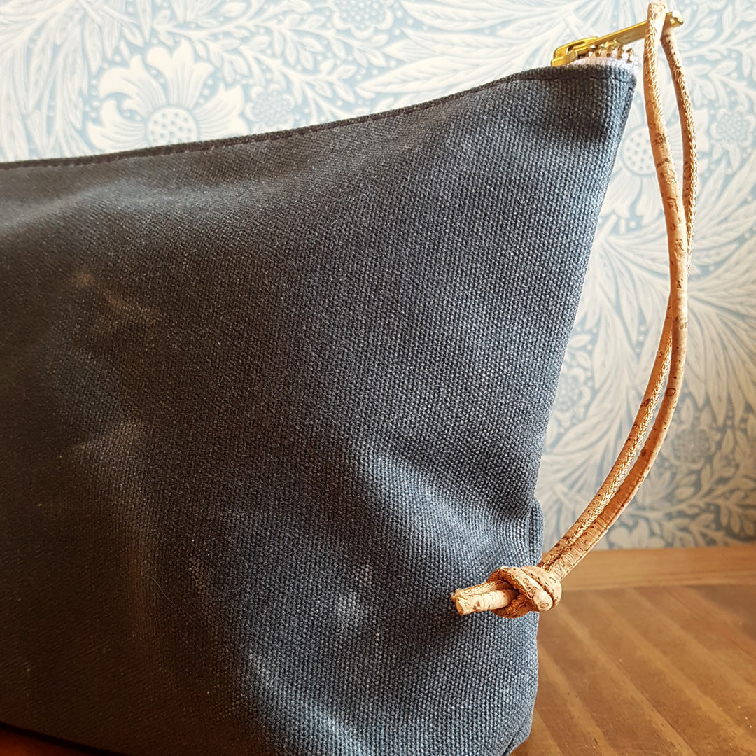 Waxed Canvas Pouch with Cork Strap
